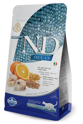 Farmina N&D cat OCEAN Codfish, Spelt, Oats & Orange Adult