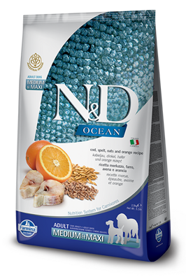 Farmina N&D dog OCEAN Cod, Spelt, Oats & Orange Adult Medium & Maxi